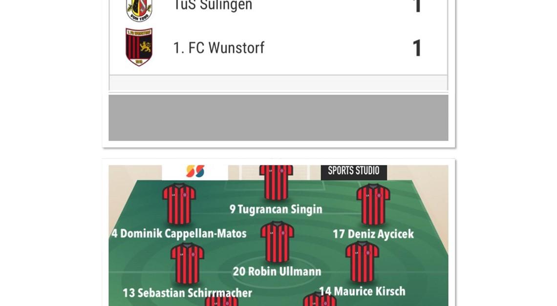 TUS SULINGEN - 1.FC WUNSTORF 1:1 (0:1)