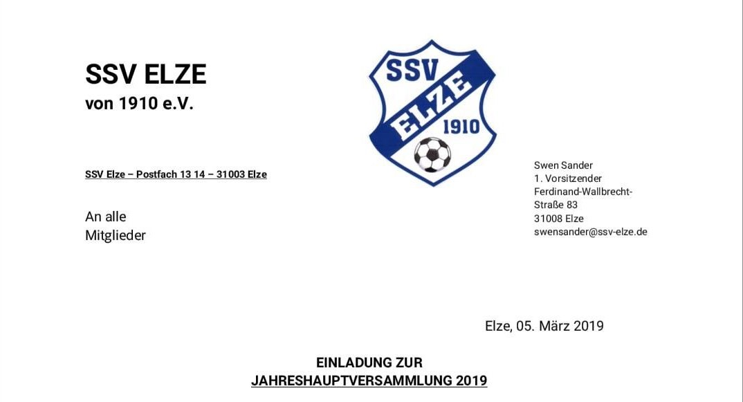 Jahreshauptversammlung 2019 am 22.03.2019