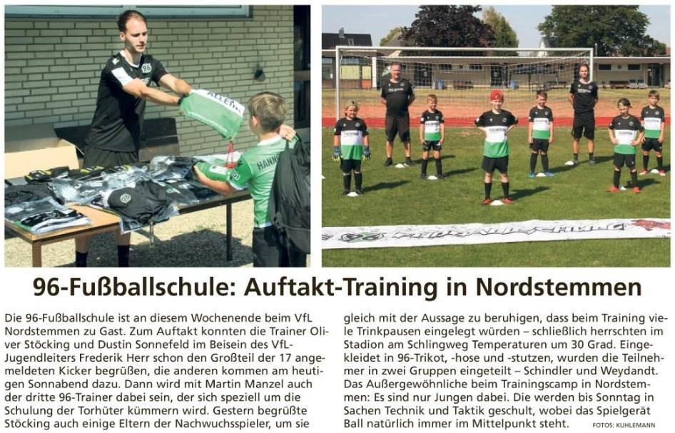 96-Fußballschule: Auftakt-Training in Nordstemmen