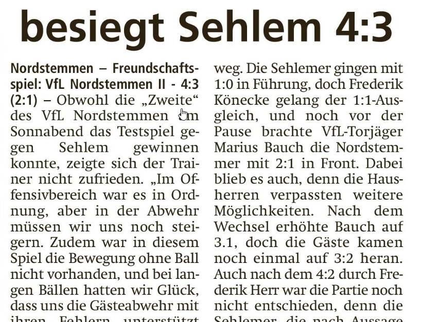 Nordstemmen II besiegt Sehlem 4:3