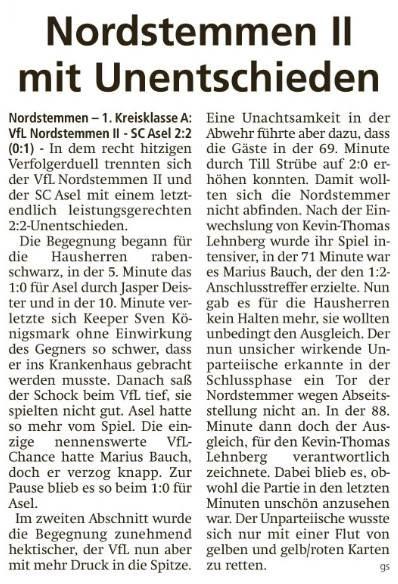 Nordstemmen II mit Unentschieden
