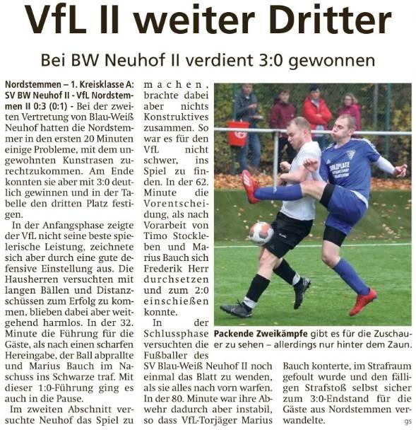 VfL II weiter Dritter