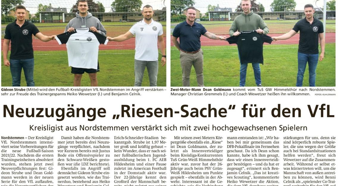 """Neuzugänge """"Riesen-Sache"""" für den VfL"""