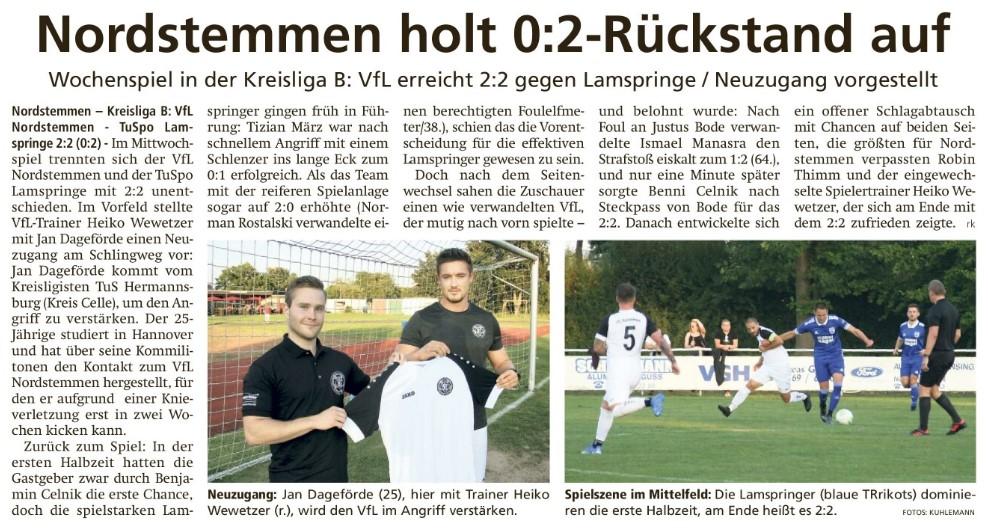 Review LDZ: Nordstemmen holt 0:2-Rückstand auf