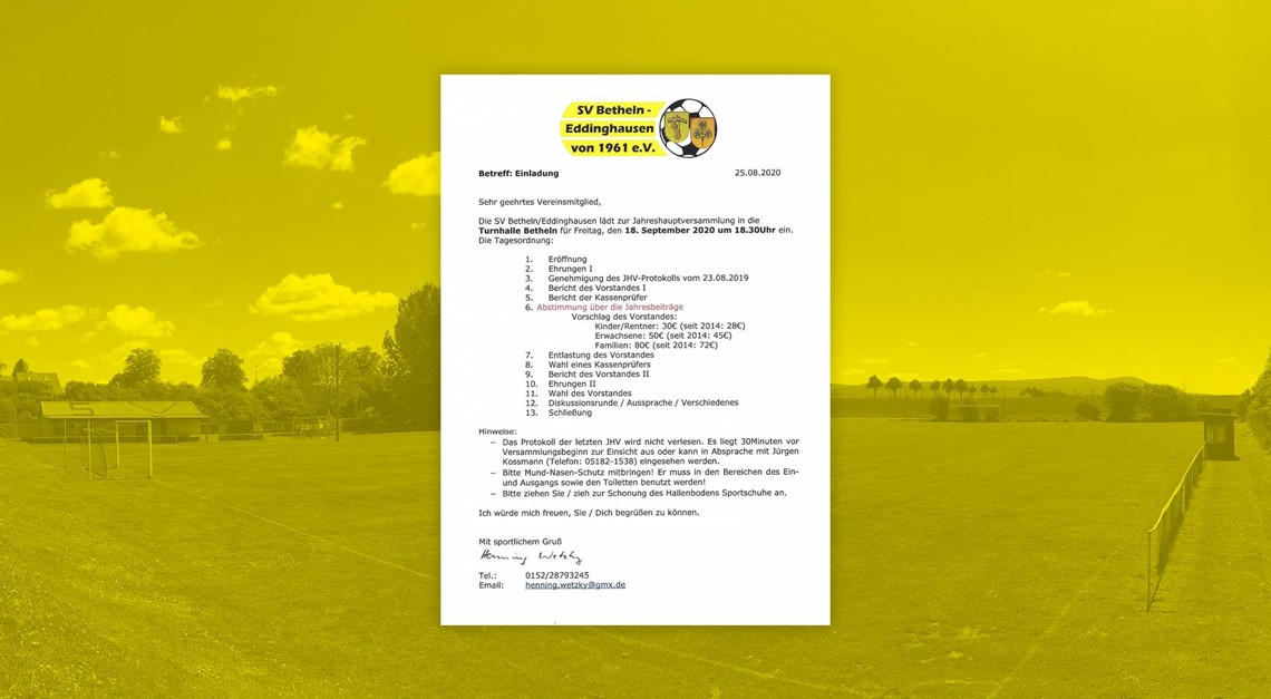Einladung zu Jahreshauptversammlung 2020