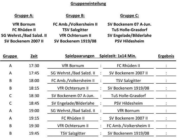 Liveticker zum Turnier beim SV Bockenem! ⚽️