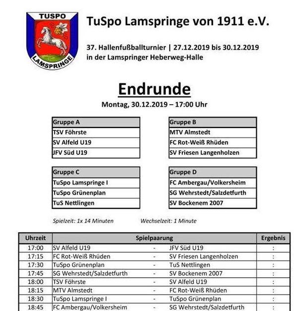 Liveticker 1. Herren - Endrunde Lamspringe! ⚽️⚽️⚽️