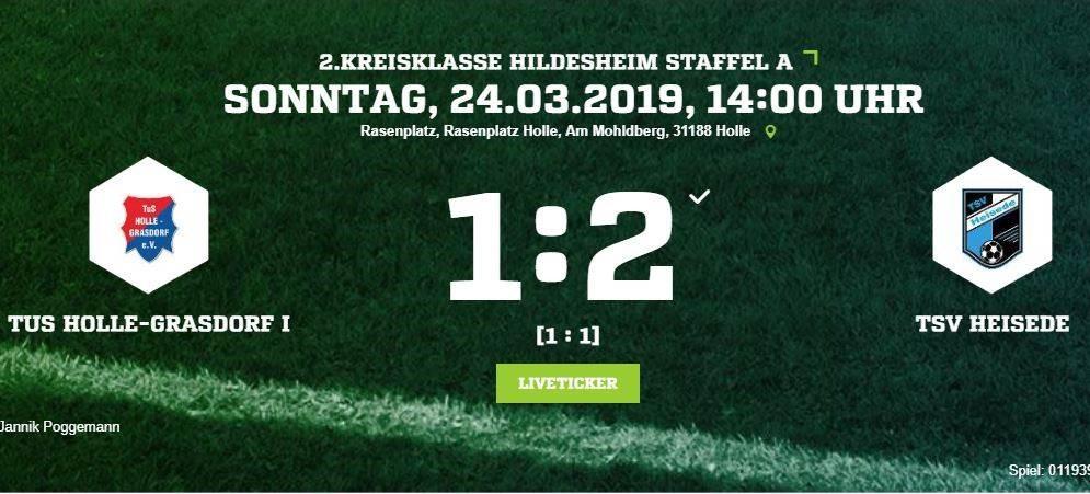 1:2 Sieg gegen Holle-Grasdorf