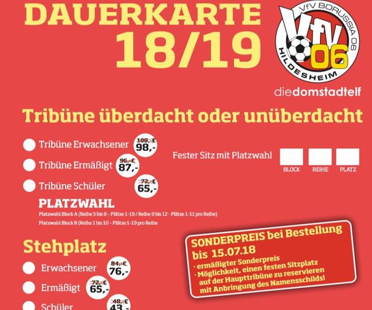 Ab sofort: Frühbucherrabatt für Dauerkarten 18/19