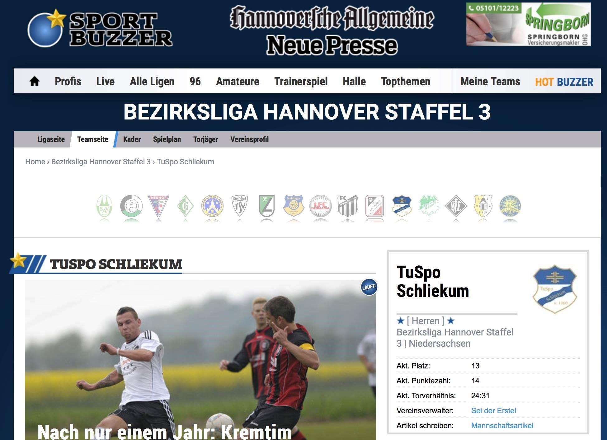 Mannschaftsfoto TuSpo Schliekum