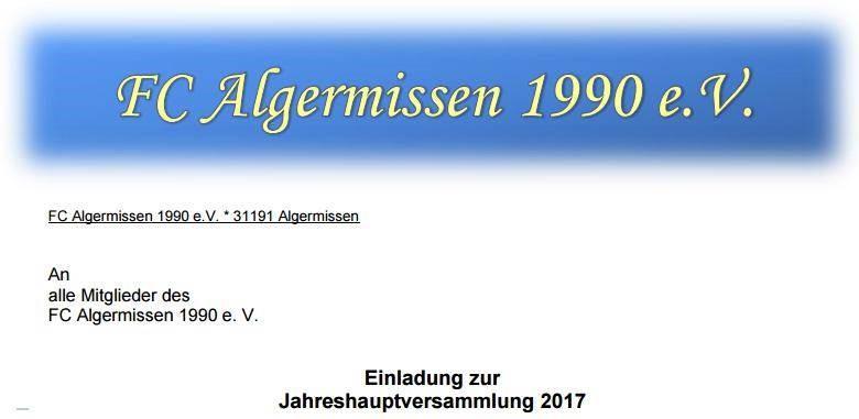 Jahreshauptversammlung am 17.03.17 19Uhr