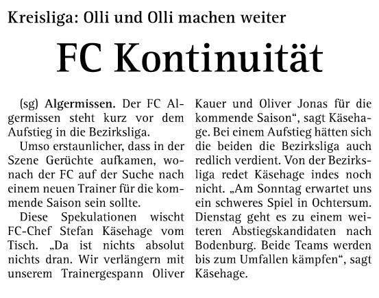 FC Algermissen verlängert mit Trainergespann