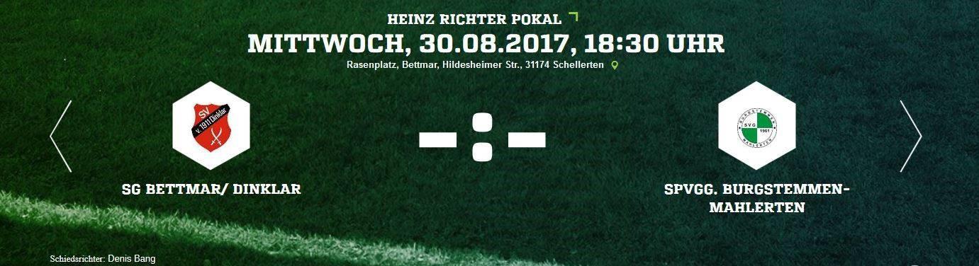 Pokalspiel am Mittwoch (30.08.2017 - 18.30 Uhr)