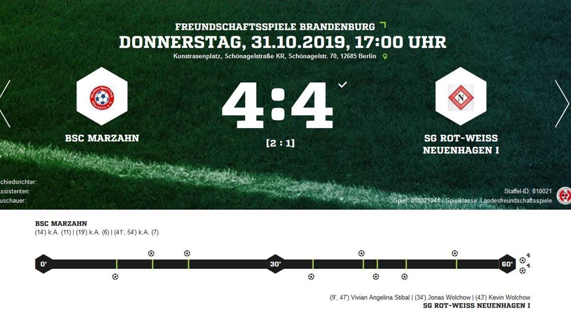 4:4 im Testspiel gegen BSC Marzahn