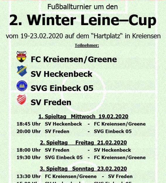 Herren gewinnen 2.Winter-Leine-Cup in Kreiensen
