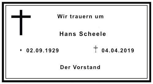 Der SVA trauert um Hansi Scheele ...