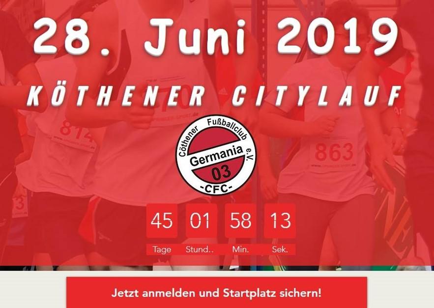 Jetzt für den Köthener Citylauf 2019 anmelden!!!