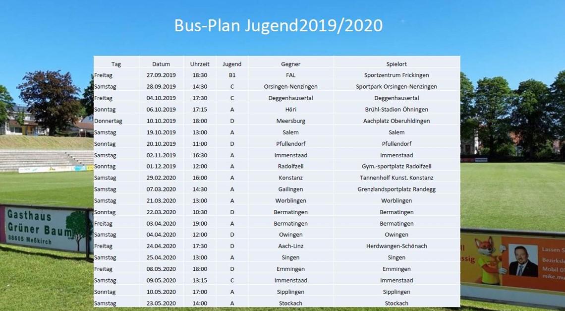 Busbelegungsplan Jugend Saison 2019/2020