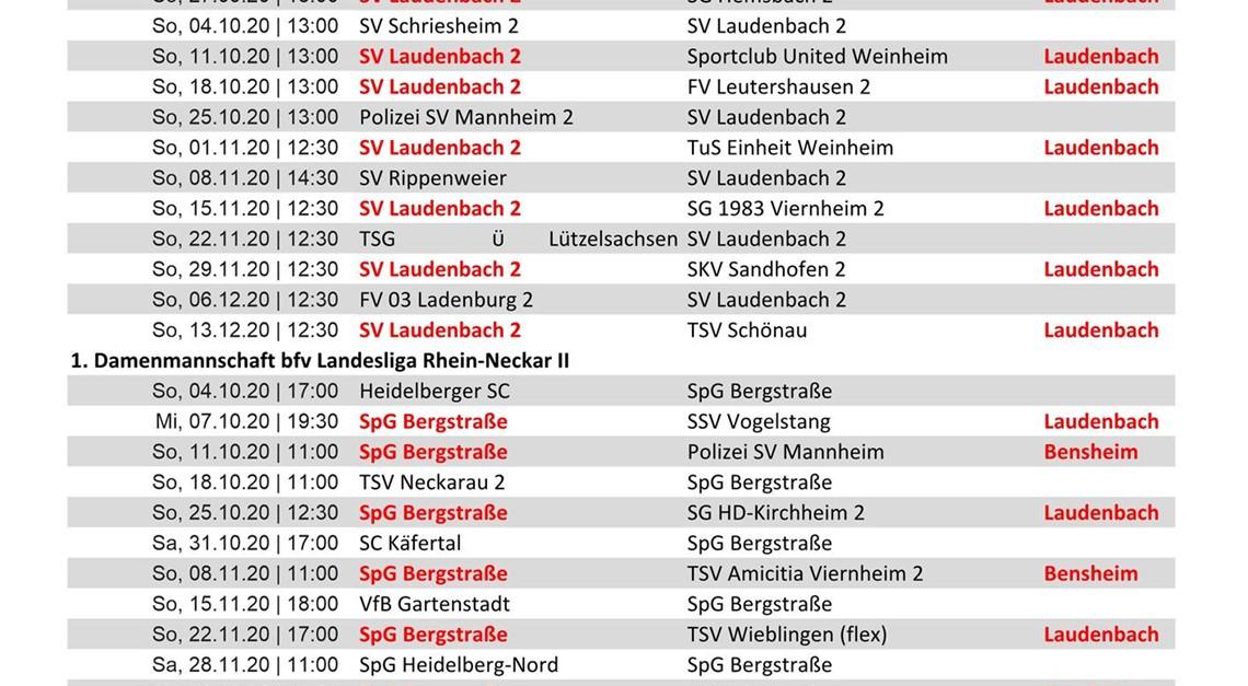 Liste der Heimspiele des SVL im Herbst