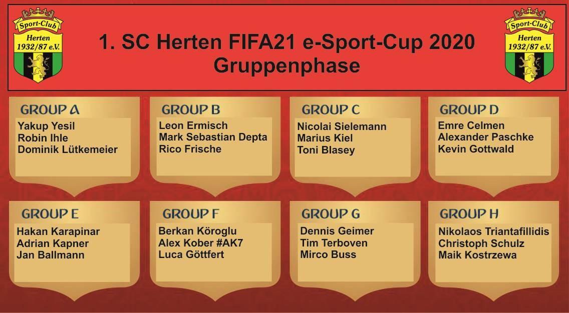 Gruppenphase 1. SC Herten FIFA21 eSport-Cup 2020!